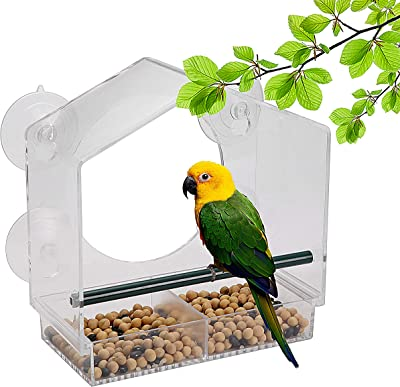 A AIKOOL Window Clear Bird Feeder for Outside Use Removable Seed Tray with Drainage Holes,Strong Suction Cups,Crystal Clear Acrylic Design to Enjoy Bird Watching