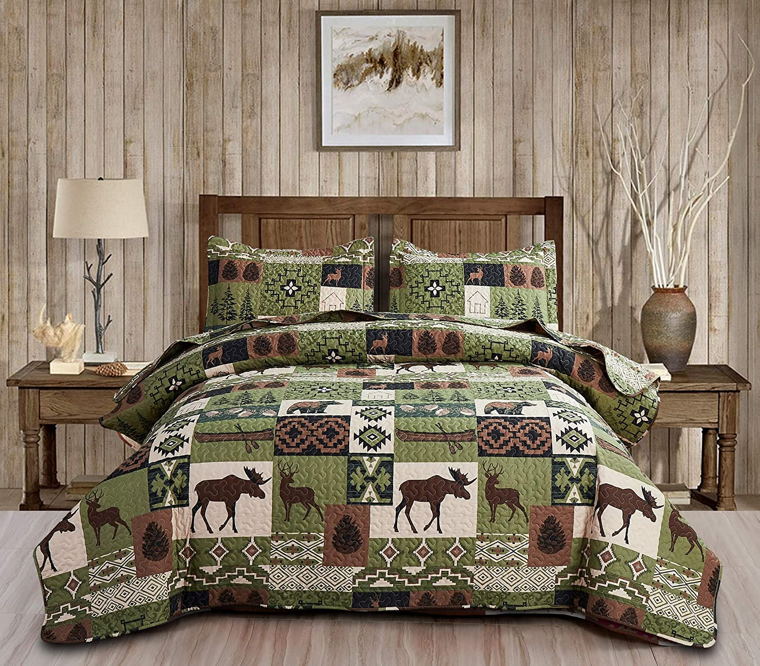 Moose San Francisco Mall Elk Quilt Set Rustic Lodge Twin All items in the store Bedspread Size Forest Bear