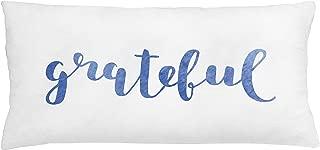 Lunarable Be Grateful Throw Pillow Cushion Cover, Monochrome Words Cursive Writing Slogan Thanksgiving Theme, Decorative Rectangle Accent Pillow Case, 36