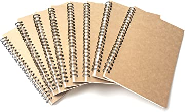 VEEPPO A5 Wirebound Notebooks Bulk Journals Spiral Steno Pads Blank/Lined Kraft Brown Cardboard Cover Thick Cream Writing Pad Sketchbook Scrapbook Album (Lined White-Pack of 8)