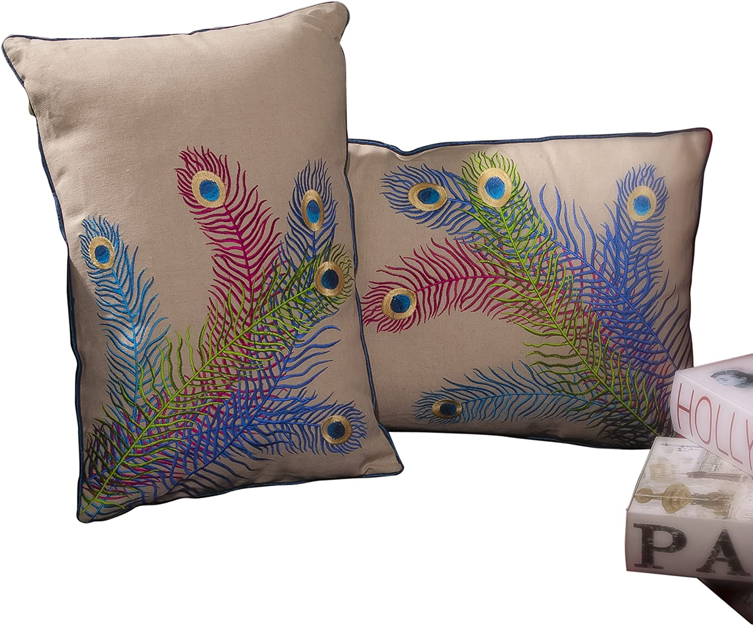 Best Selling 18-Inch bluee Peacock Pillow, Set of 2