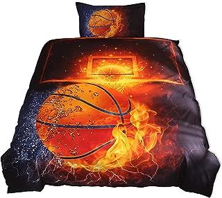 Lldaily 3D Sports Basketball Bedding Set Teen Boys,Duvet Cover Sets Pillowcases,Twin Size,2PCS,1 Duvet Cover+1 Pillow Shams,(Comforter not Included)