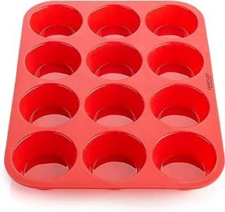 OvenArt Bakeware 12-Cup European LFGB Silicone Muffin Pan, Red