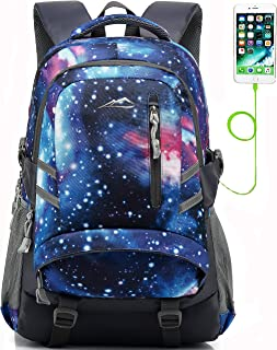 Galaxy Backpack Bookbag for School College Student Travel Business with USB Charging Port Chest Straps Fit Laptop Up to 15.6 Inch Anti theft Night Light Reflective (Galaxy)