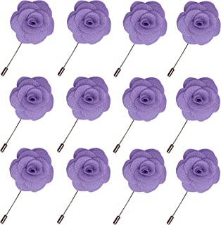 Lapel Flower Pin Rose for Wedding Boutonniere Stick (Set of 12 PINS)