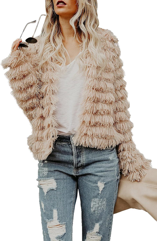 Lovaru Womens Coat Long Sleeve Open Front Parka Shaggy Faux Fur