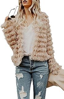 801cdda1 Jeanewpole1 Women Faux Fur Jacket Coat Open Front Fluffy Vintage Parka  Shaggy Cardigan