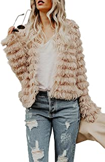 Haloumoning Womens Fall Faux Fur Coat Fluffy Jacket Tassels Cardigan Fuzzy Sweaters