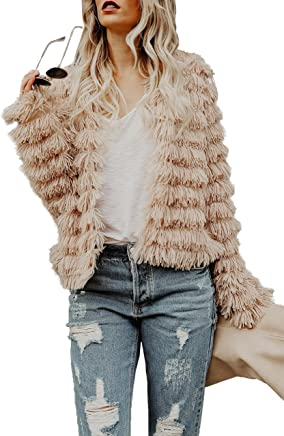 533d6b9a34 Lovaru Womens Coat Long Sleeve Open Front Parka Shaggy Faux Fur Coat Jacket  Parka by