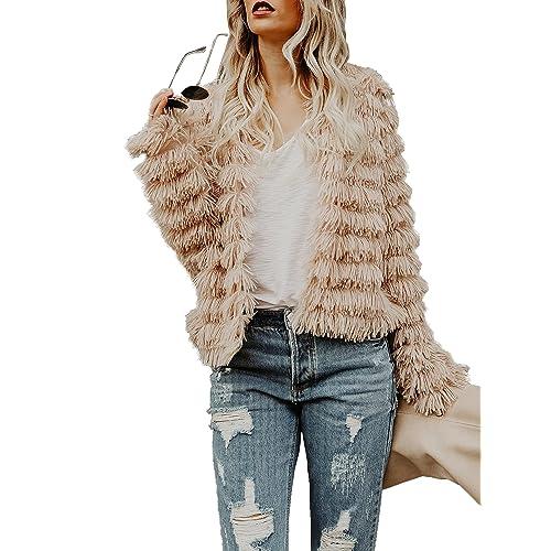 Womens Open Front Faux Fur Coat Vintage Parka Shaggy Jacket Cardigan 2eca5dca3
