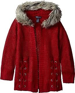Girls' Faux Fur Trim Hooded Cardigan