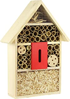 Gardirect Luxurious Insect Hotel, Bee & Bug House, Large Size, 11'' x 3-3/8'' x 15-3/4'' (Natural Roof)