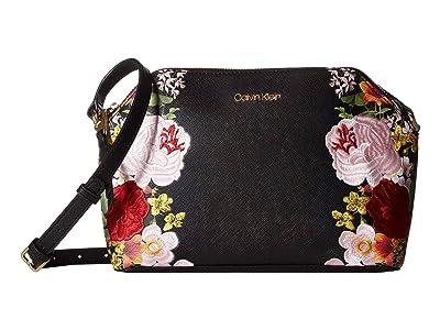 Calvin Klein Mercy Floral Printed Saffiano Crossbody (Black Floral) Handbags