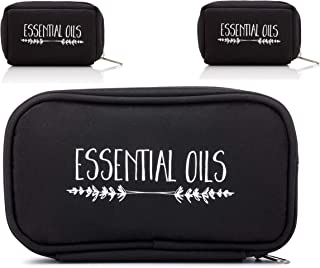 The Oil Owl - Three Essential Oil Carrying Cases! Black - Lavender Branches - One Large (Fits - Ten 15ml or 5ml Bottles) Two Small (Fit - Eight 5ml Bottles) - Travel Bags for Young Living, doTERRA