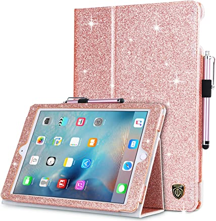 BENTOBEN iPad 9.7 2018 Case, iPad 9.7 2017 Case, iPad Air/Air 2 Case, Glitter Bling Folio Folding Stand Smart Cover Holder Auto Wake/Sleep Luxury Faux Leather Shockproof Protective Case, Rose Gold