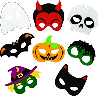 Halloween Masks for Kids - 8 Felt Masks, Great for Halloween Themed Parties and Novelty Costume Dress-up