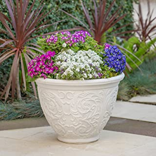 Christopher Knight Home Hardy Outdoor Antique White Finished Cast Stone Planter