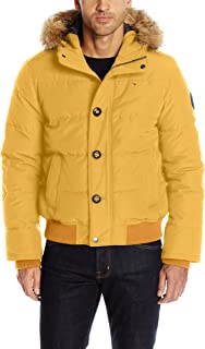 Men's Arctic Cloth Quilted Snorkel Bomber Jacket with Removable Faux Fur Trimmed Hood