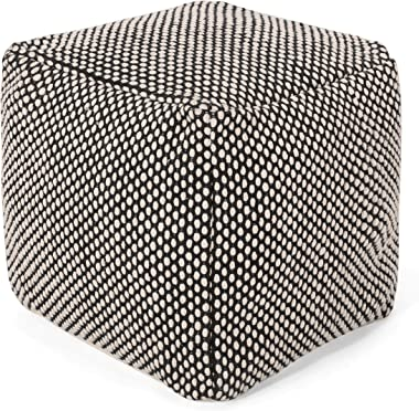 Christopher Knight Home Jessica Boho Fabric Cube Pouf, Black, Natural