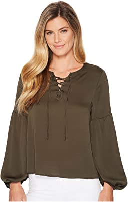 Lace-Up Bubble Sleeve Hammer Satin Blouse