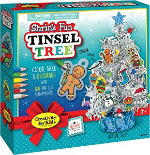 Creativity for Kids Shrink Fun Tinsel Tree - Decorate A Tiny Tree with Shrink Fun Ornaments - Holiday Crafts for Kids