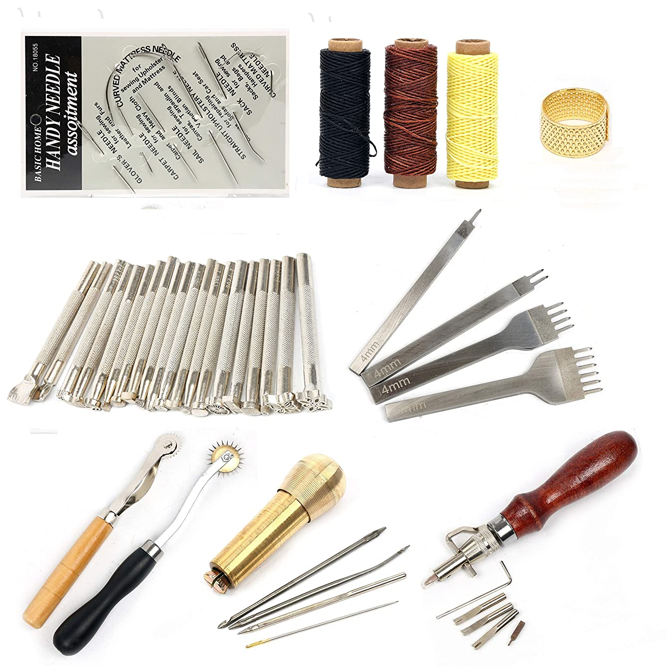 YaeTek 48Pcs Leather Craft Hand Tools Set Kit Sewing Stitching Thread Punch Carving Working