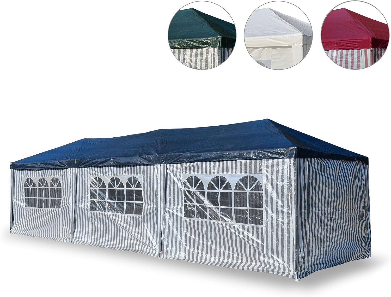 Garten-Pavillon 3 x 9 m wasserdicht inklusive Heringe Abspannseile Eckverbinder PE-Plane 110 g m2, Metallgestnge lackiert, Stecksystem Montage ohne Werkzeug, blau wei, Bierzelt Raucherzelt Partyzelt