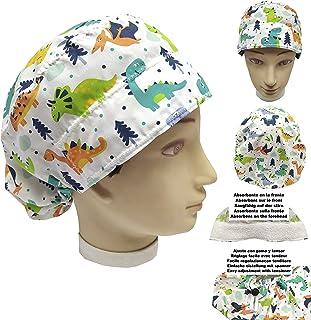 Cappellino da infermiera DINOSAURI per Capelli Lunghi Chirurgo dentale ventrale assorbente sulla fronte regolabile a propr...