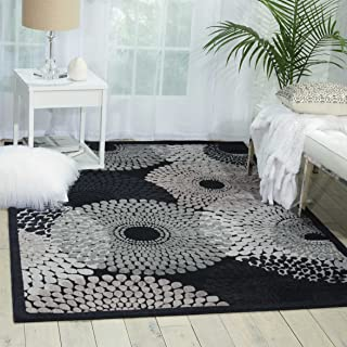 Nourison Graphic Illusions  Black Rectangle Area Rug, 7-Feet 9-Inches by 10-Feet 10-Inches (7'9