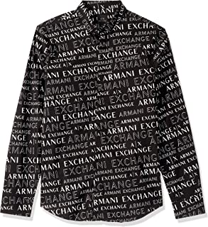 A|X Armani Exchange Men's Long Sleeve Button Down Shirt with Collar, Extreme Logo, M