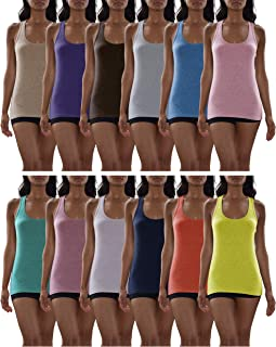 Women's 12 Pack Racer Back Tank Tops/Cotton -Spandex Stretch Color Tanks