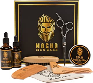 Premium Beard Grooming Kit - Beard Oil For Men, Beard Brush, Beard Comb, Beard Balm, Mustache Barber Scissors, Shaper Tool, Argan Oil, Best Mens Trimming Growth Beard Care Gift Set (Ultimate 8 Tools)