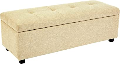 Red Hook Meknes Storage Ottoman Bench with Fabric Upholstery - 48 x 17 x 16 Inches, Almond
