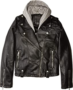Vegan Leather Moto Jacket w/ Grey Hood (Big Kids)
