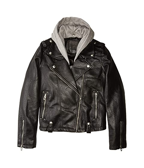 ea821e4d9d09 Blank NYC Kids Vegan Leather Moto Jacket w  Grey Hood (Big Kids) at 6pm