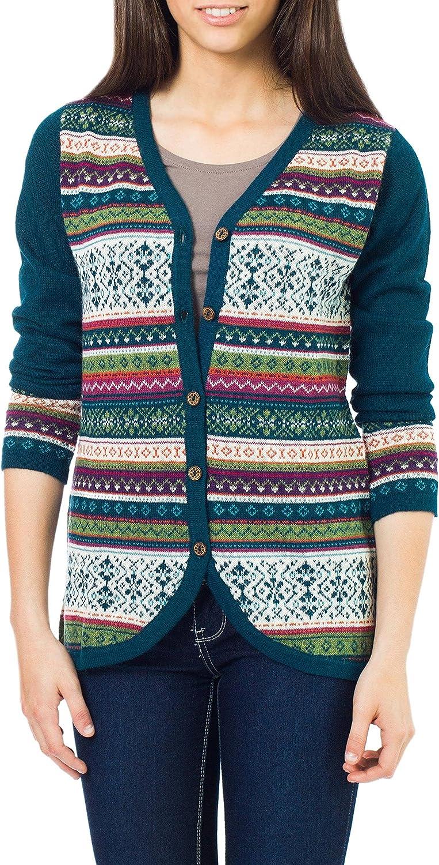 NOVICA Multicolor 100% Alpaca Cardigan, Winter Fiesta'