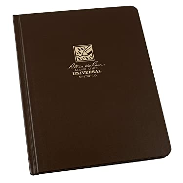 """Rite In The Rain Weatherproof Hard Cover Notebook, 6.75"""" x 8.75"""", Brown Cover, Universal Pattern (No. 470F-LG)"""