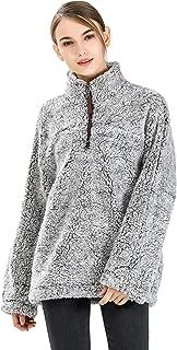 Fleece Sherpa Pullover Hoodie Women 1/4 Zip Pullover Frosty Pile Tipped Stadium Sweater