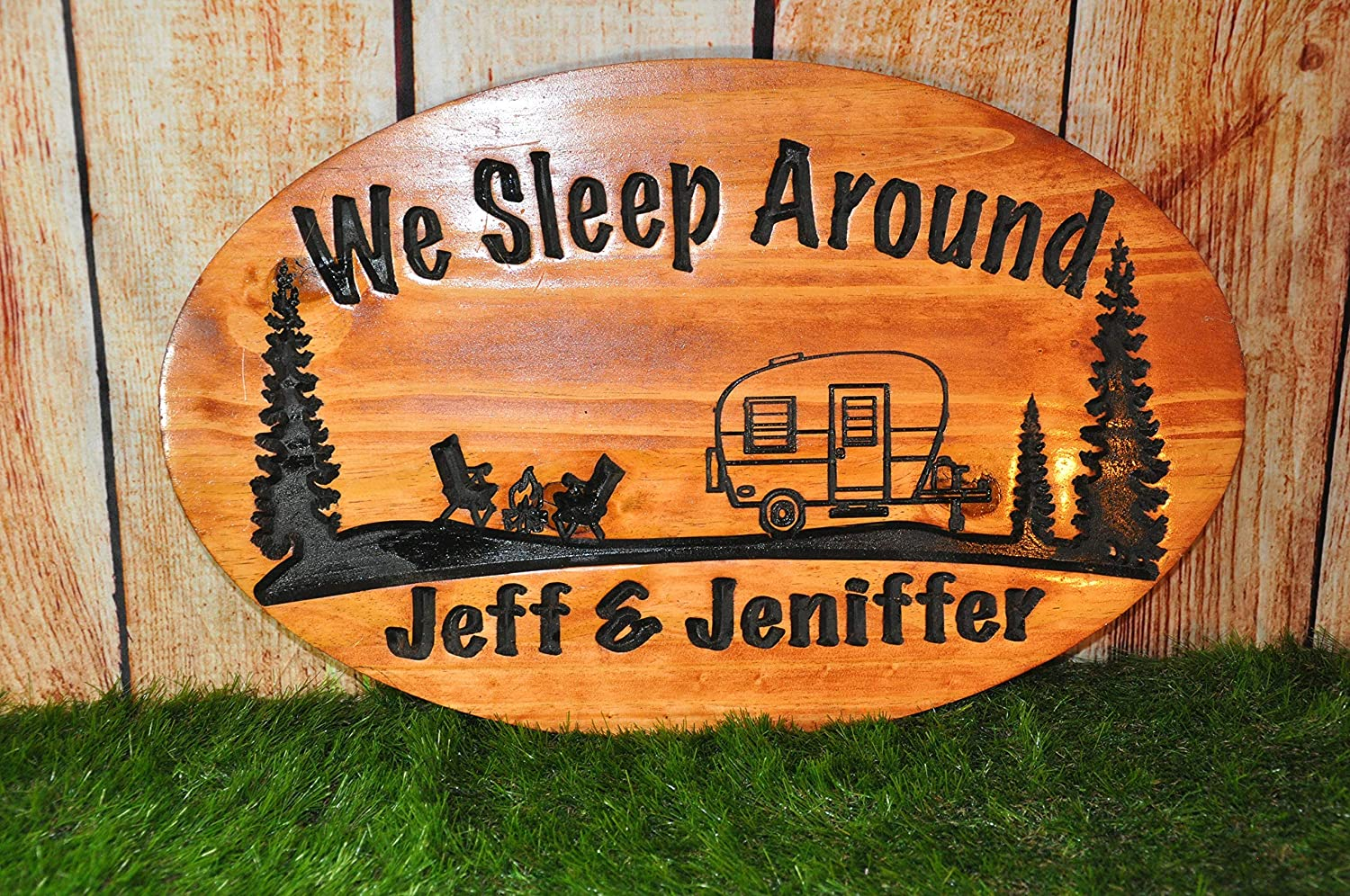 Special sale item Camper Sign Engraved We OFFer at cheap prices Sleep Wooden