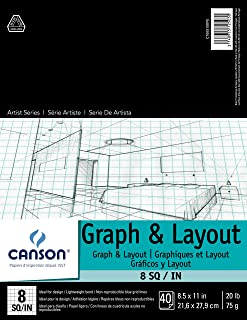 Canson Foundation Series Graph and Layout Paper Pad with Non Reproducible Blue Grid, 20 Pound, 8 by 8 Grid on 8.5 x 11 Inc...