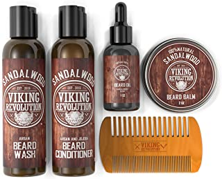Ultimate Beard Care Conditioner Kit - Beard Grooming Kit for Men Softens, Smoothes and Soothes Beard Itch- Contains Beard Wash & Conditioner, Beard Oil, Beard Balm and Beard Comb- Sandalwood Scent