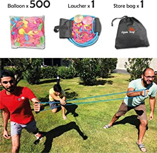 Water Balloon Launcher - Water Balloons Slingshot Cannon 3 People Balloon Launcher For 500 Yards - Outdoor Water Game For Kids and Adults - Coming With Carry Bag Include 500 Water Balloons !!