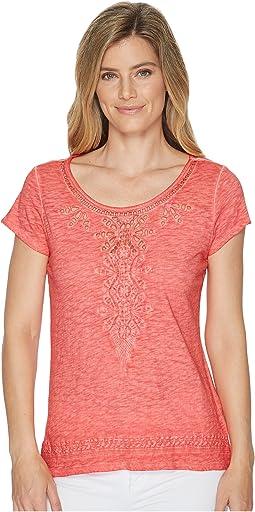 Jersey Slub Cap Sleeve Embroidered Top