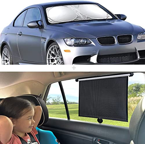 """new arrival EcoNour Gift Bundle   Windshield Sun Shade (Standard 64""""x32"""") + Car Side Window Sunshade (2 Pack)   Retractable Car online Roller Sunshade   UV new arrival Rays and Sun Glare Protection online"""