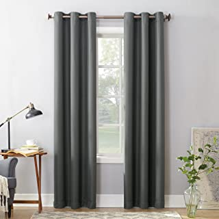 """No. 918 Montego Casual Textured Grommet Curtain Panel, 48"""" x 95"""", Charcoal Gray"""