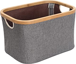 Kueimovi Foldable Storage Bin, 22L Bamboo Frame Storage Basket Kids Laundry Hamper Toy Basket Storage Bins for Makeup, Boo...