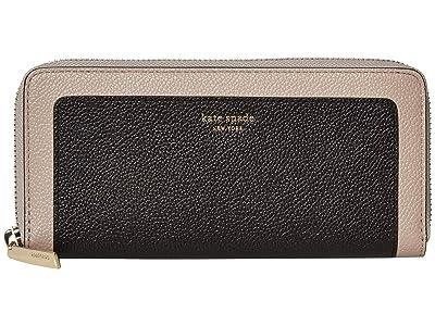 Kate Spade New York Margaux Slim Continental Wallet (Black/Warm Taupe) Wallet Handbags