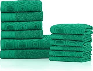 Superior's 100% Cotton 500 GSM, Plush, Absorbent, High Quality and Durable Honeycomb Jacquard and Solid 12-piece Towel Set- Gumdrop Green