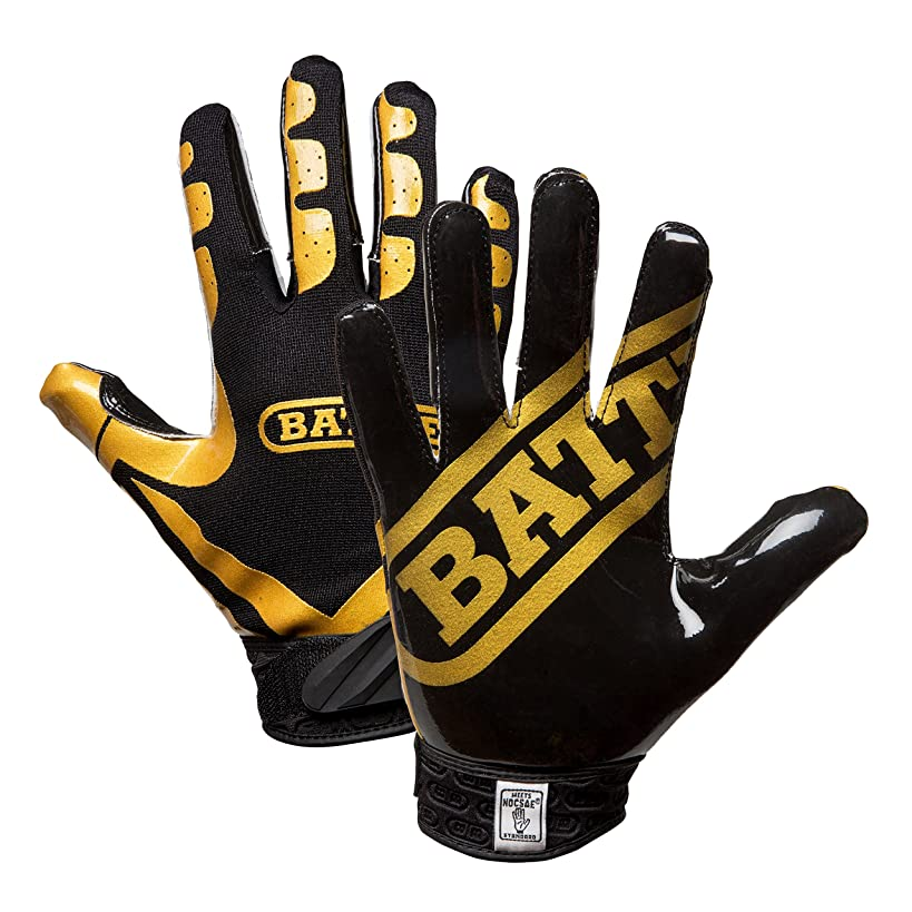 Battle Football Glove, Vegas Gold/Black, Adult Large
