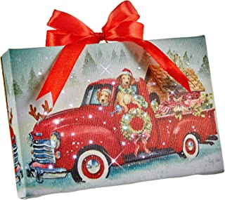 RAZ Imports Tabletop LED Lighted Print Ornament with Easel - Dogs Driving A Red Truck - 6 Inch